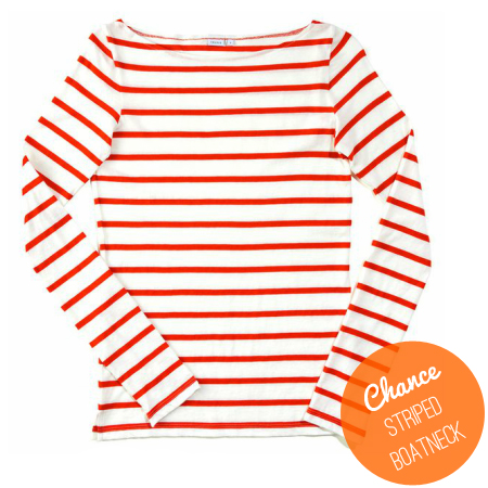 Chance Striped Boatneck Tee, via Dressed in Orange