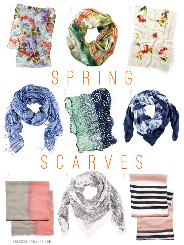 Spring Scarves, via Dressed in Orange