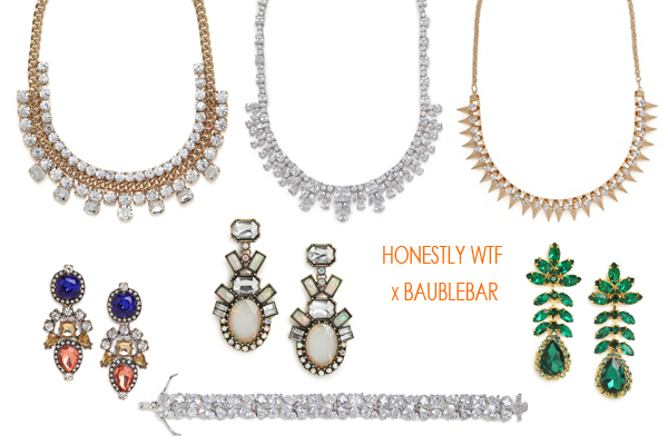 Honest WTF x BaubleBar Jewels, via Dressed in Orange