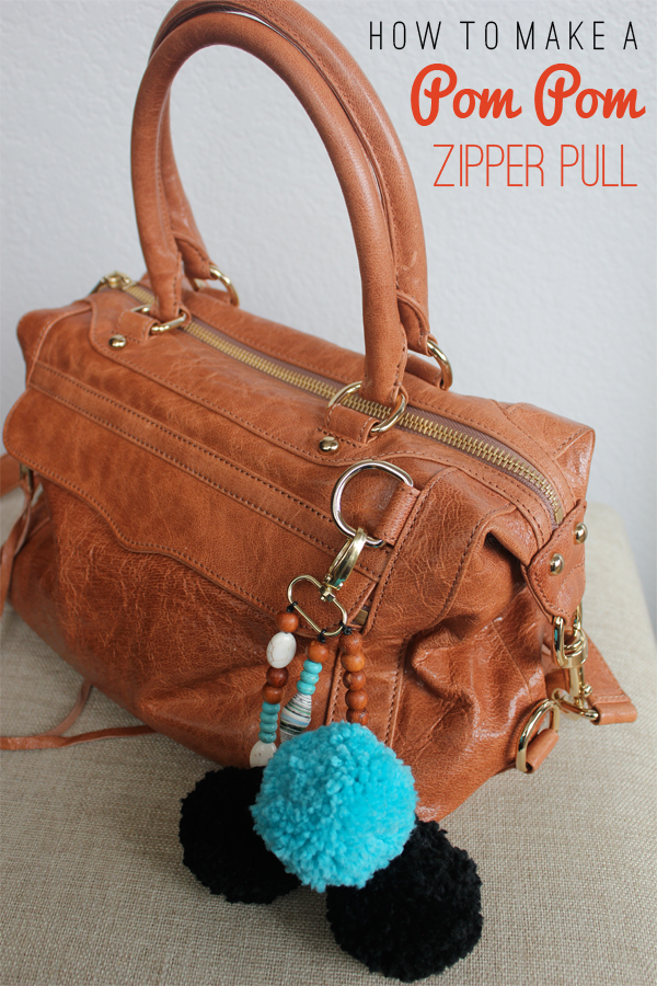Make your own Pom Pom zipper pull or bag charm, via Dressed in Orange