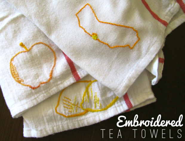 Embroidered Tea Towels via Dressed In Orange