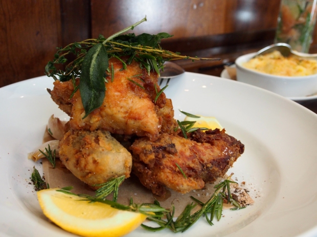 Wayfare Tavern fried chicken, via Dressed In Orange