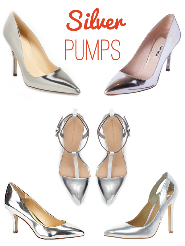 Silver pointed toe pumps, via Dressed in Orange