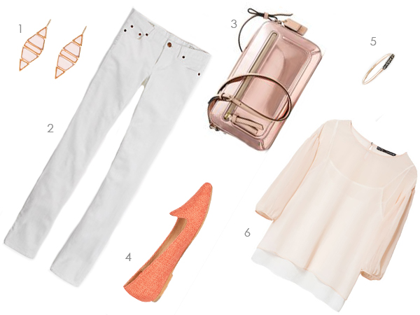peach, pink, and creme summer outfit, via Dressed in Orange