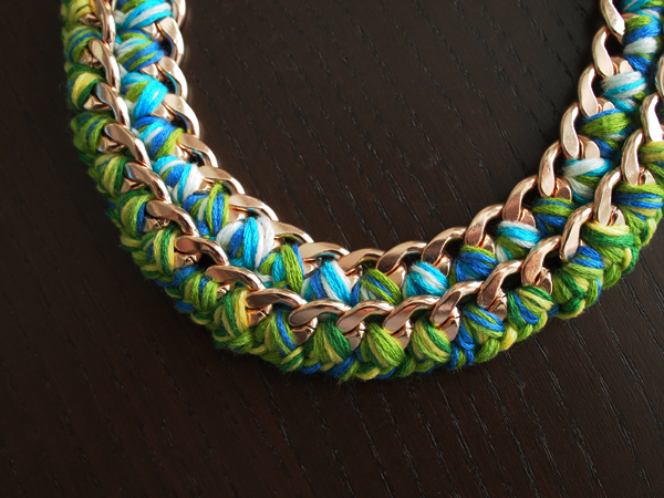 DIY Woven Chain Necklace   Dressed In Orange